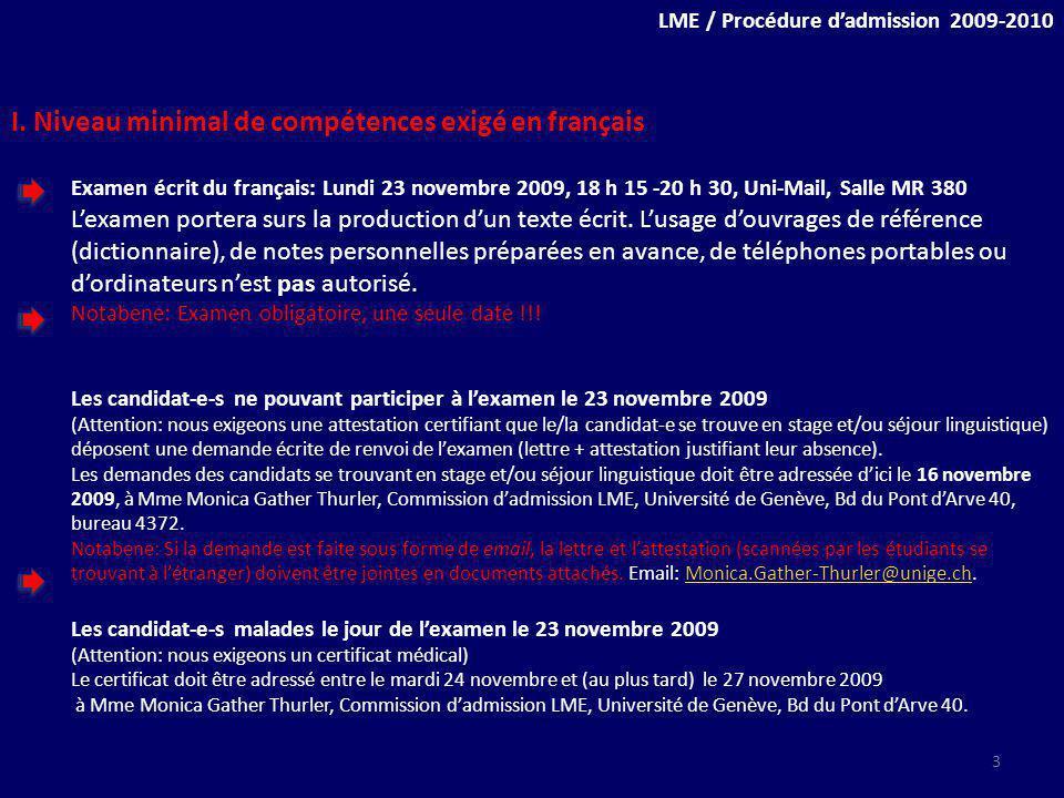 LME / Procédure dadmission 2009-2010 I.