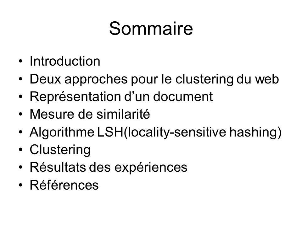 Sommaire Introduction Deux approches pour le clustering du web Représentation dun document Mesure de similarité Algorithme LSH(locality-sensitive hashing) Clustering Résultats des expériences Références