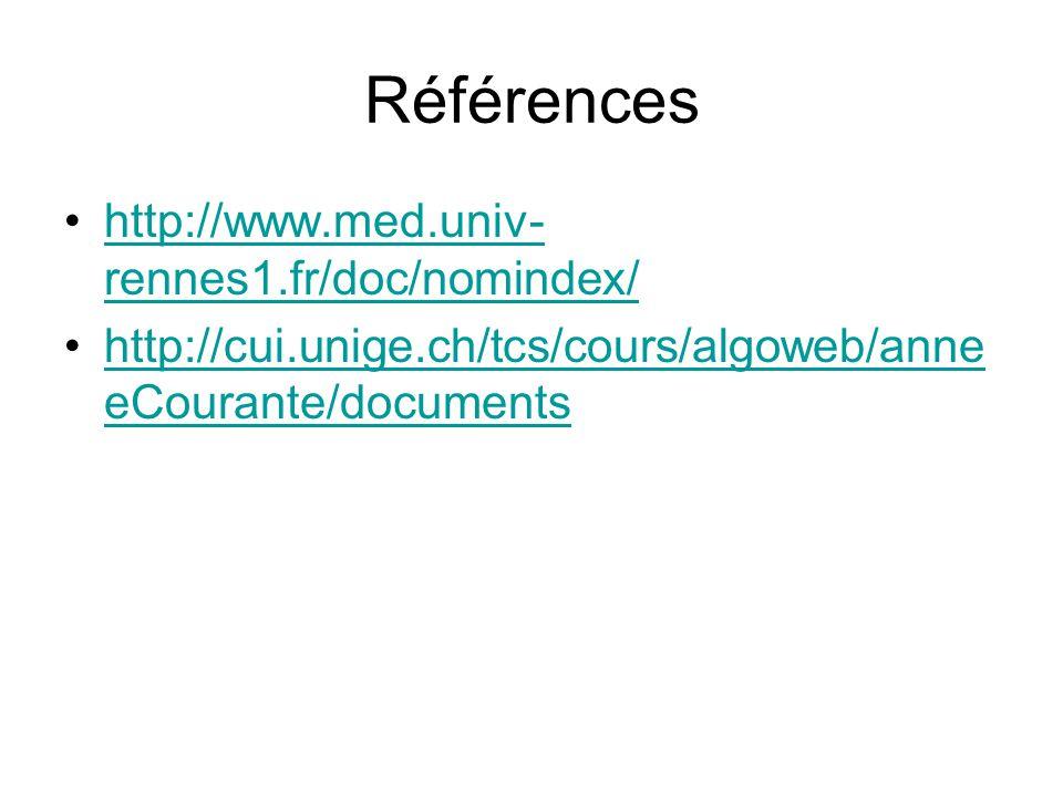 Références http://www.med.univ- rennes1.fr/doc/nomindex/http://www.med.univ- rennes1.fr/doc/nomindex/ http://cui.unige.ch/tcs/cours/algoweb/anne eCourante/documentshttp://cui.unige.ch/tcs/cours/algoweb/anne eCourante/documents