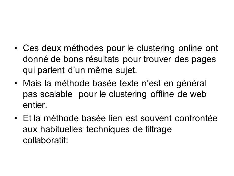 Ces deux méthodes pour le clustering online ont donné de bons résultats pour trouver des pages qui parlent dun même sujet.