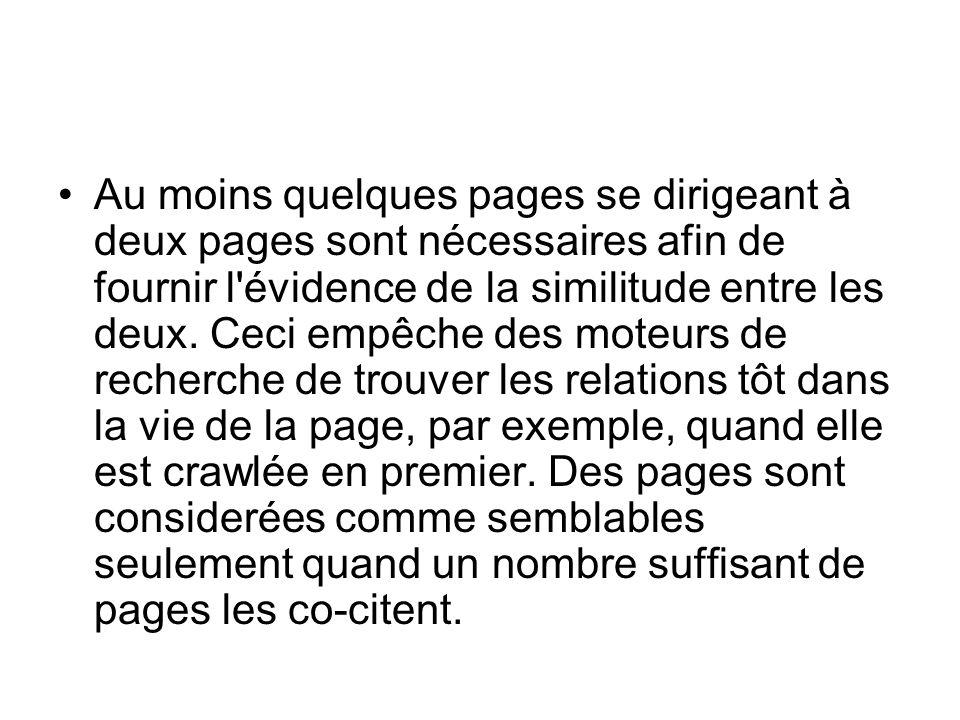 Au moins quelques pages se dirigeant à deux pages sont nécessaires afin de fournir l évidence de la similitude entre les deux.