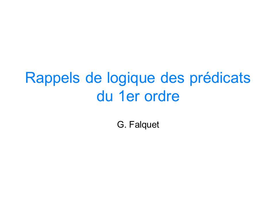 Rappels de logique des prédicats du 1er ordre G. Falquet