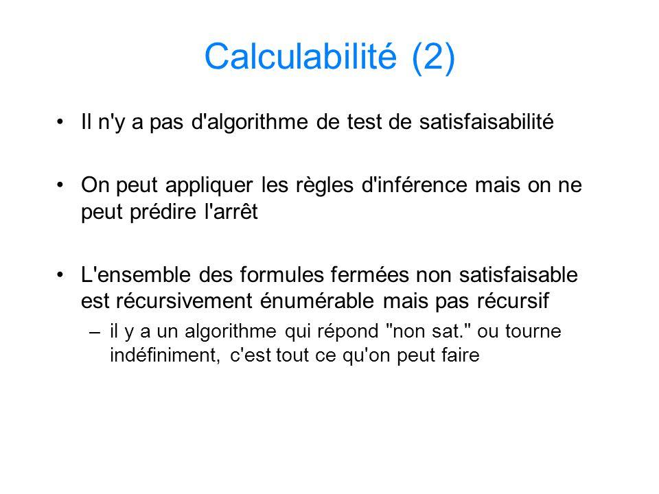 Calculabilité (2) Il n'y a pas d'algorithme de test de satisfaisabilité On peut appliquer les règles d'inférence mais on ne peut prédire l'arrêt L'ens