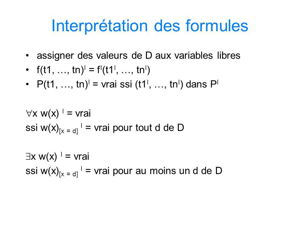 Interprétation des formules assigner des valeurs de D aux variables libres f(t1, …, tn) I = f I (t1 I, …, tn I ) P(t1, …, tn) I = vrai ssi (t1 I, …, t