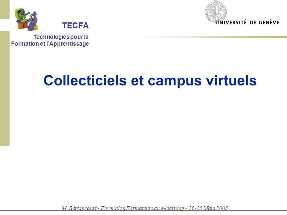 M. Bétrancourt - Formation Formateurs au e-learning - 20-25 Mars 2005 Collecticiels et campus virtuels TECFA Technologies pour la Formation et lAppren
