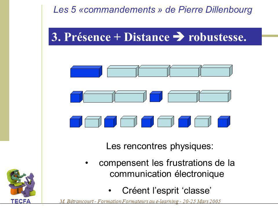 M. Bétrancourt - Formation Formateurs au e-learning - 20-25 Mars 2005 TECFA 3. Présence + Distance robustesse. Les rencontres physiques: compensent le