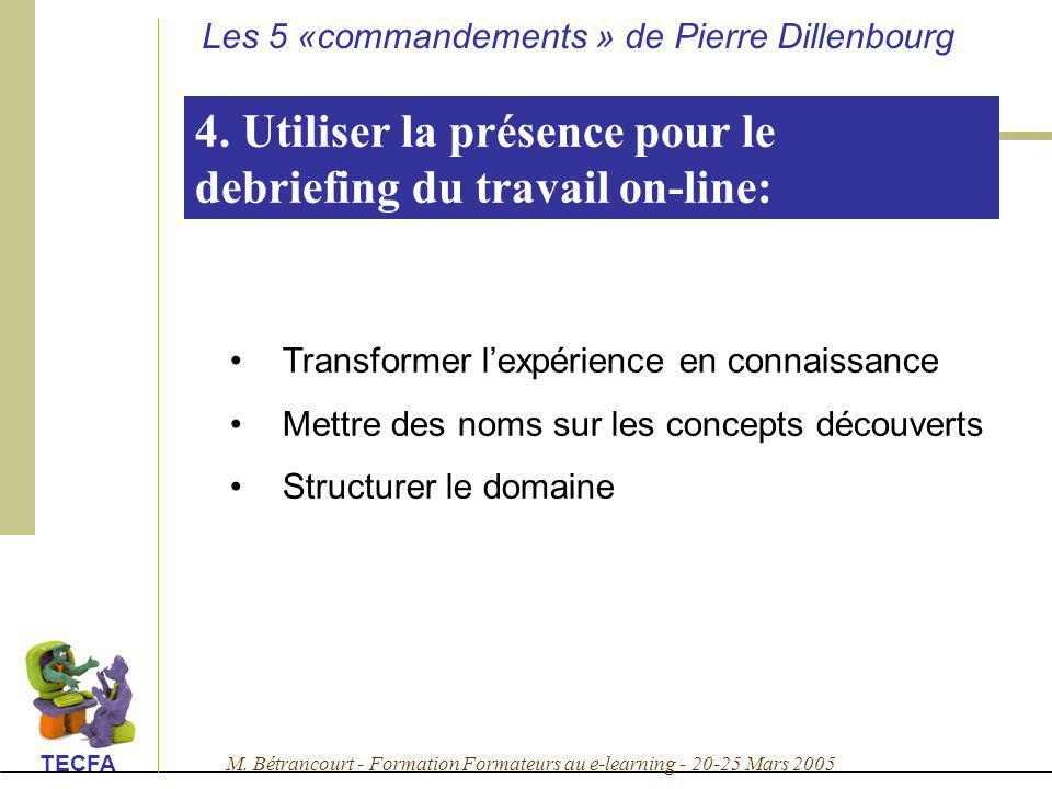 M. Bétrancourt - Formation Formateurs au e-learning - 20-25 Mars 2005 TECFA 4. Utiliser la présence pour le debriefing du travail on-line: Transformer