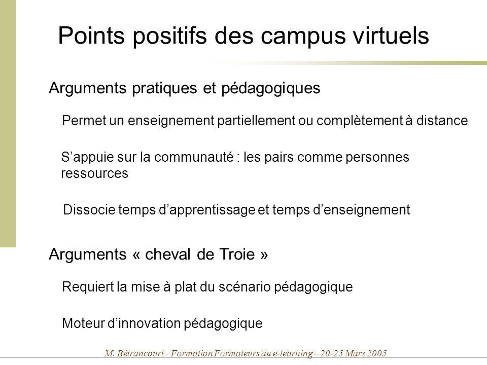 M. Bétrancourt - Formation Formateurs au e-learning - 20-25 Mars 2005 Points positifs des campus virtuels Arguments pratiques et pédagogiques Permet u