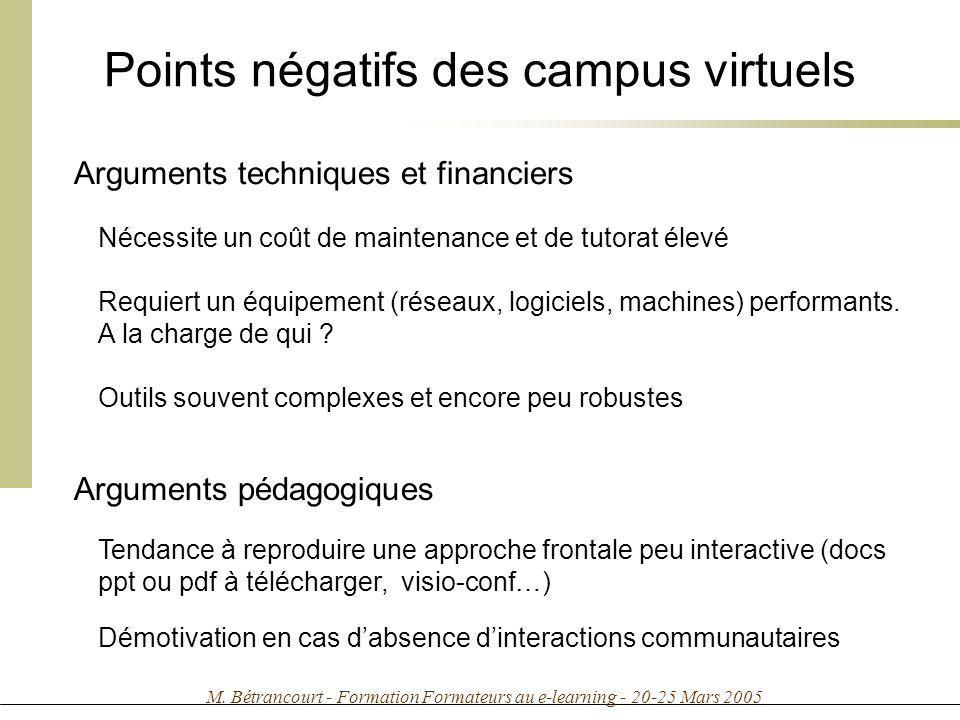 M. Bétrancourt - Formation Formateurs au e-learning - 20-25 Mars 2005 Points négatifs des campus virtuels Arguments techniques et financiers Nécessite