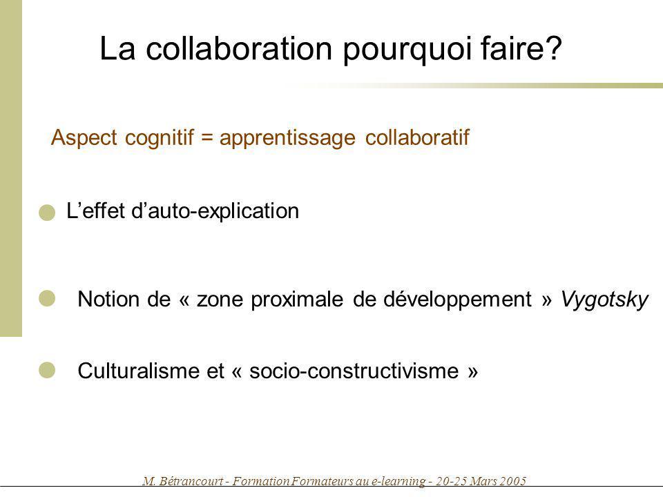 M. Bétrancourt - Formation Formateurs au e-learning - 20-25 Mars 2005 La collaboration pourquoi faire? Leffet dauto-explication Notion de « zone proxi