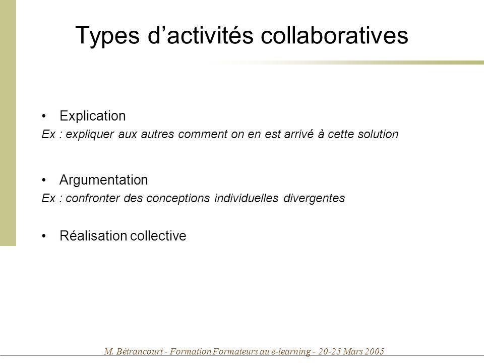 M. Bétrancourt - Formation Formateurs au e-learning - 20-25 Mars 2005 Types dactivités collaboratives Explication Ex : expliquer aux autres comment on