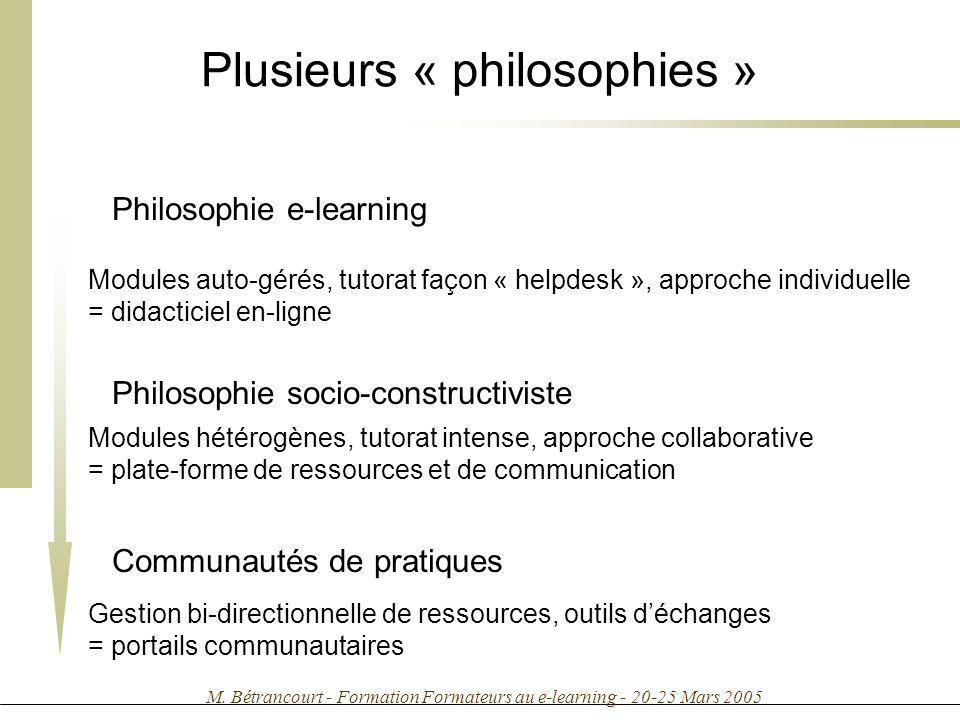 M. Bétrancourt - Formation Formateurs au e-learning - 20-25 Mars 2005 Plusieurs « philosophies » Philosophie e-learning Modules auto-gérés, tutorat fa