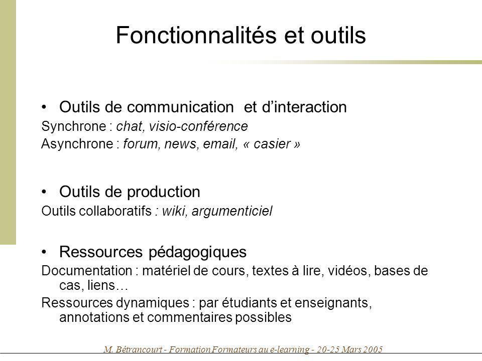 M. Bétrancourt - Formation Formateurs au e-learning - 20-25 Mars 2005 Fonctionnalités et outils Outils de communication et dinteraction Synchrone : ch