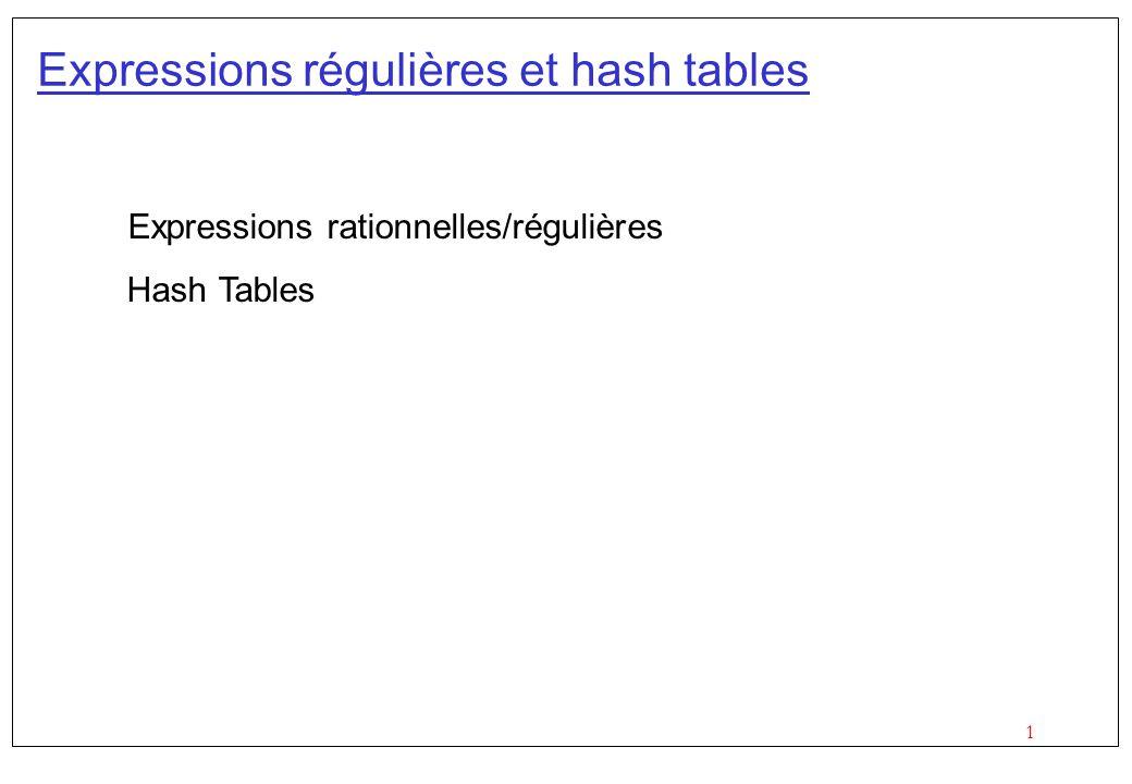 1 Expressions régulières et hash tables Expressions rationnelles/régulières Hash Tables