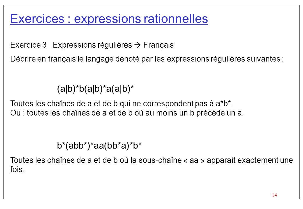 14 Exercices : expressions rationnelles Exercice 3 Expressions régulières Français Décrire en français le langage dénoté par les expressions régulières suivantes : (a|b)*b(a|b)*a(a|b)* Toutes les chaînes de a et de b qui ne correspondent pas à a*b*.