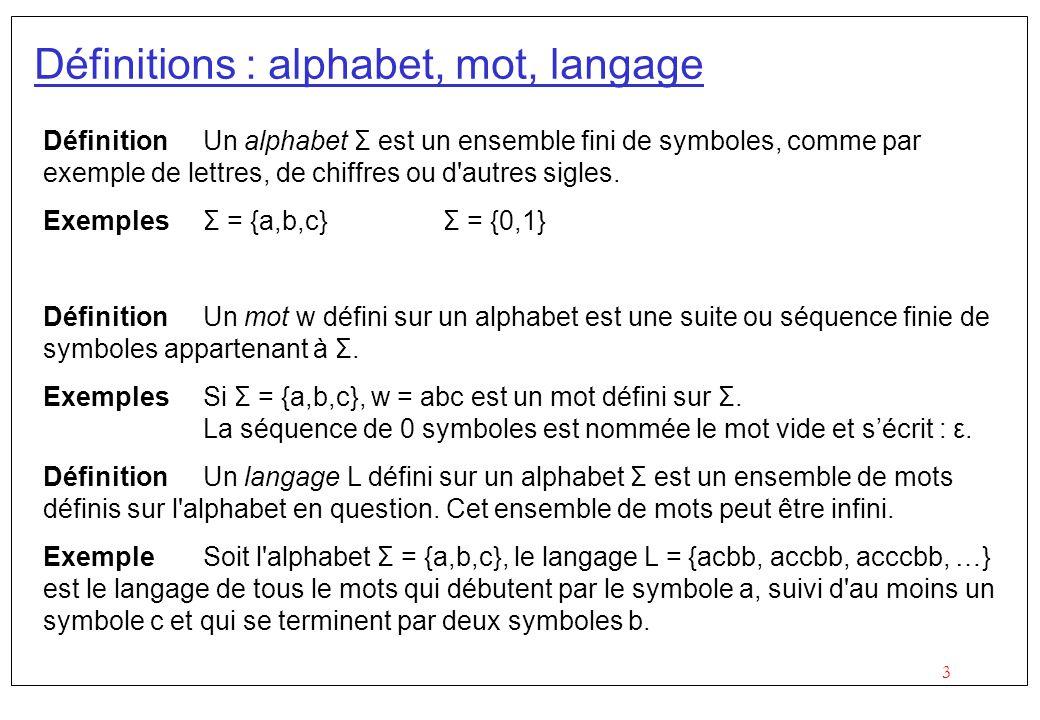 3 Définitions : alphabet, mot, langage Définition Un alphabet Σ est un ensemble fini de symboles, comme par exemple de lettres, de chiffres ou d autres sigles.