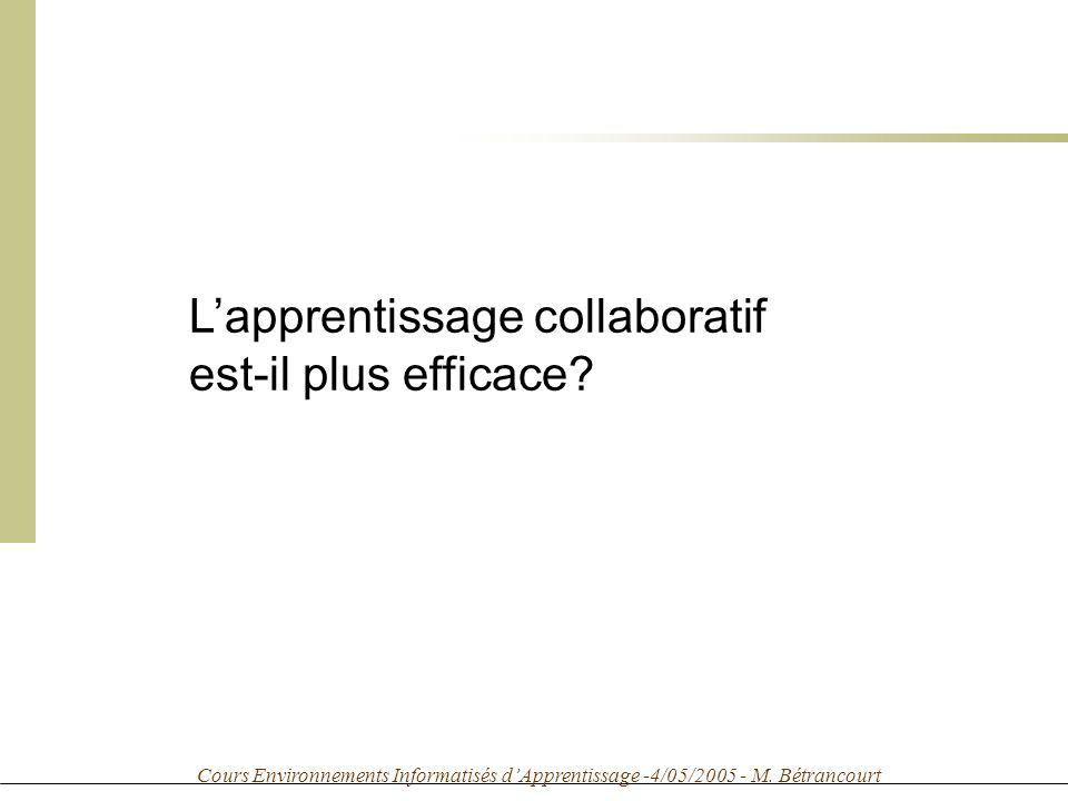 Cours Environnements Informatisés dApprentissage -4/05/2005 - M.