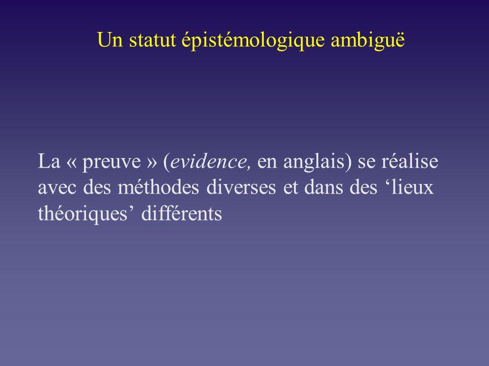 Un statut épistémologique ambiguë La « preuve » (evidence, en anglais) se réalise avec des méthodes diverses et dans des lieux théoriques différents