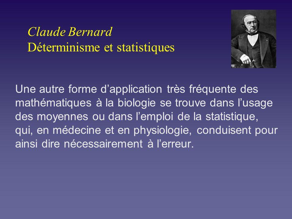 Claude Bernard Déterminisme et statistiques Une autre forme dapplication très fréquente des mathématiques à la biologie se trouve dans lusage des moye