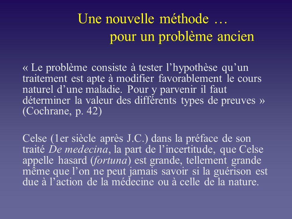 Une nouvelle méthode … pour un problème ancien « Le problème consiste à tester lhypothèse quun traitement est apte à modifier favorablement le cours n