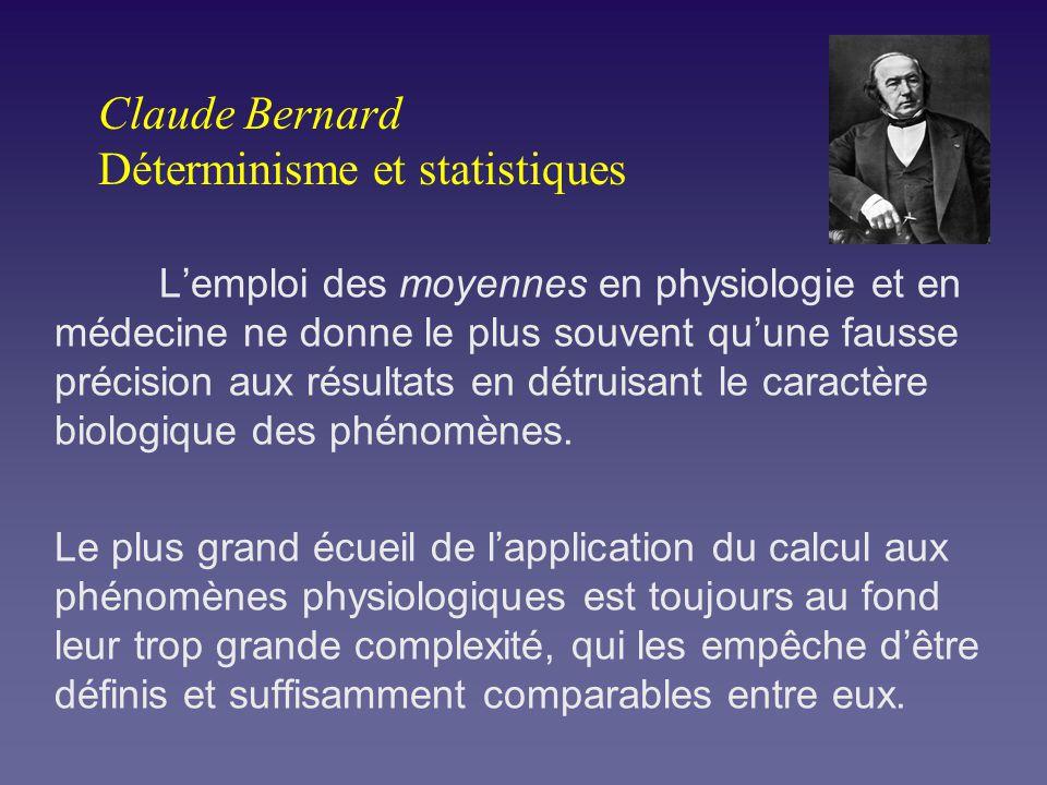 Claude Bernard Déterminisme et statistiques Lemploi des moyennes en physiologie et en médecine ne donne le plus souvent quune fausse précision aux rés