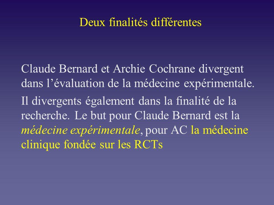Deux finalités différentes Claude Bernard et Archie Cochrane divergent dans lévaluation de la médecine expérimentale. Il divergents également dans la