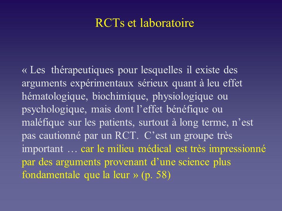 RCTs et laboratoire « Les thérapeutiques pour lesquelles il existe des arguments expérimentaux sérieux quant à leu effet hématologique, biochimique, p