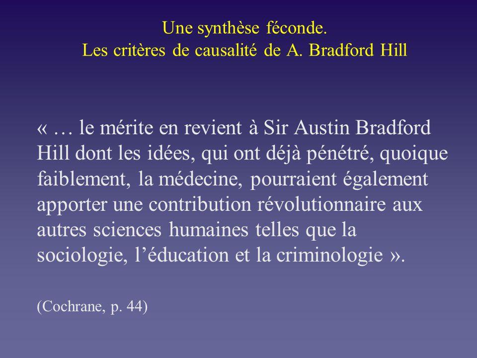 Une synthèse féconde. Les critères de causalité de A. Bradford Hill « … le mérite en revient à Sir Austin Bradford Hill dont les idées, qui ont déjà p