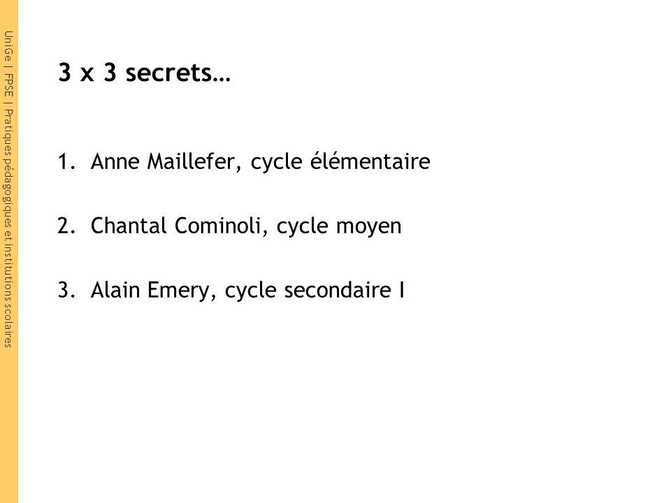 UniGe | FPSE | Pratiques pédagogiques et institutions scolaires 3 x 3 secrets… 1.Anne Maillefer, cycle élémentaire 2.Chantal Cominoli, cycle moyen 3.A