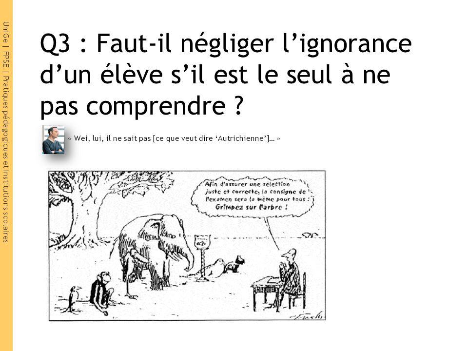 UniGe | FPSE | Pratiques pédagogiques et institutions scolaires Q3 : Faut-il négliger lignorance dun élève sil est le seul à ne pas comprendre ? « Wei