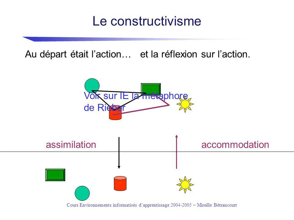 Cours Environnements informatisés dapprentissage 2004-2005 – Mireille Bétrancourt Seymour Papert Most of his [Piaget s] followers in education set out to hasten (or at least consolidate) the passage of the child beyond concrete operations.