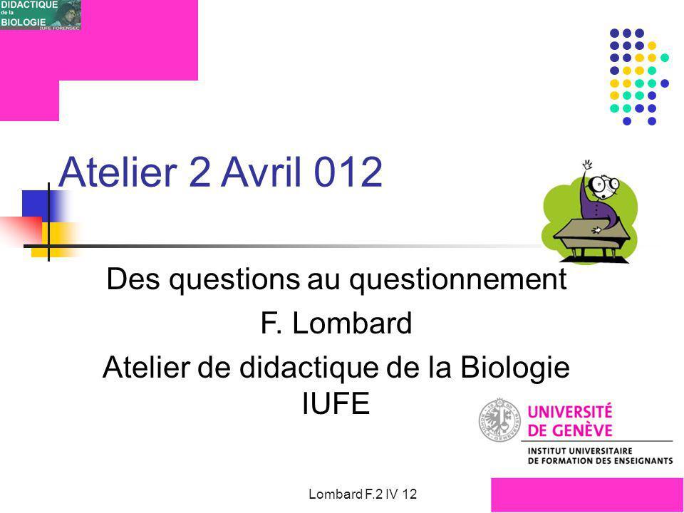 IUFE FORENSEC UniGe Ateliers Didactique de la biologie Q° inopinée comme problème souhaité .