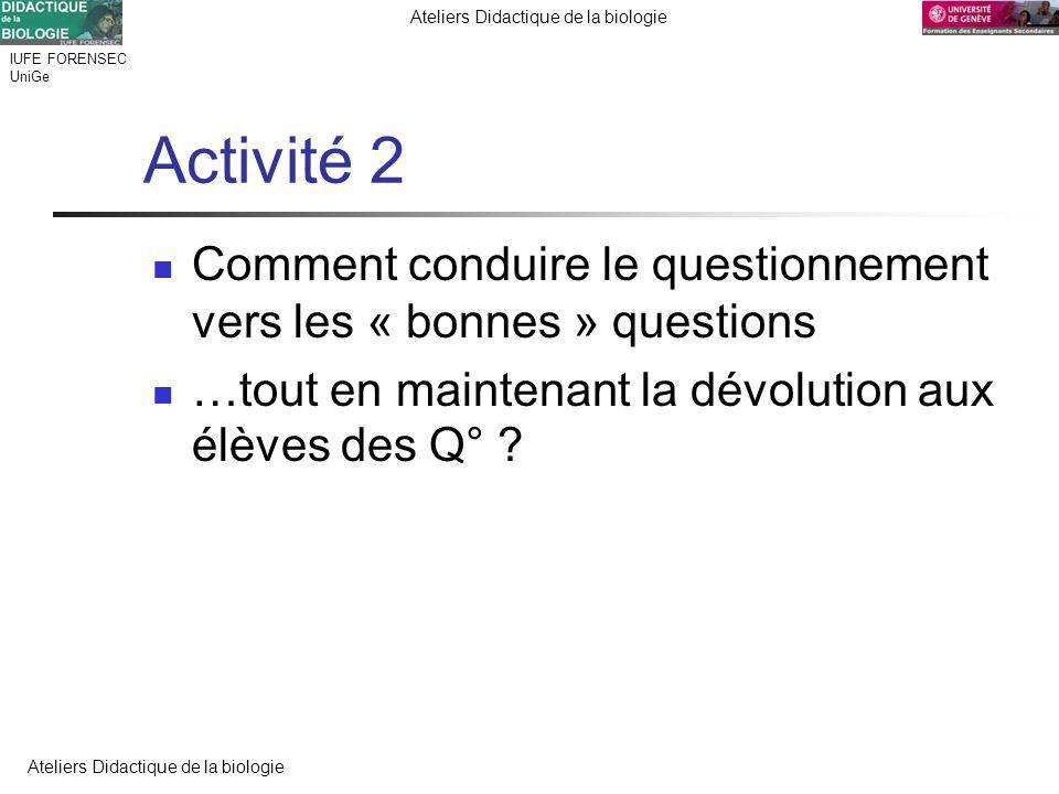 IUFE FORENSEC UniGe Ateliers Didactique de la biologie Activité 2 Comment conduire le questionnement vers les « bonnes » questions …tout en maintenant