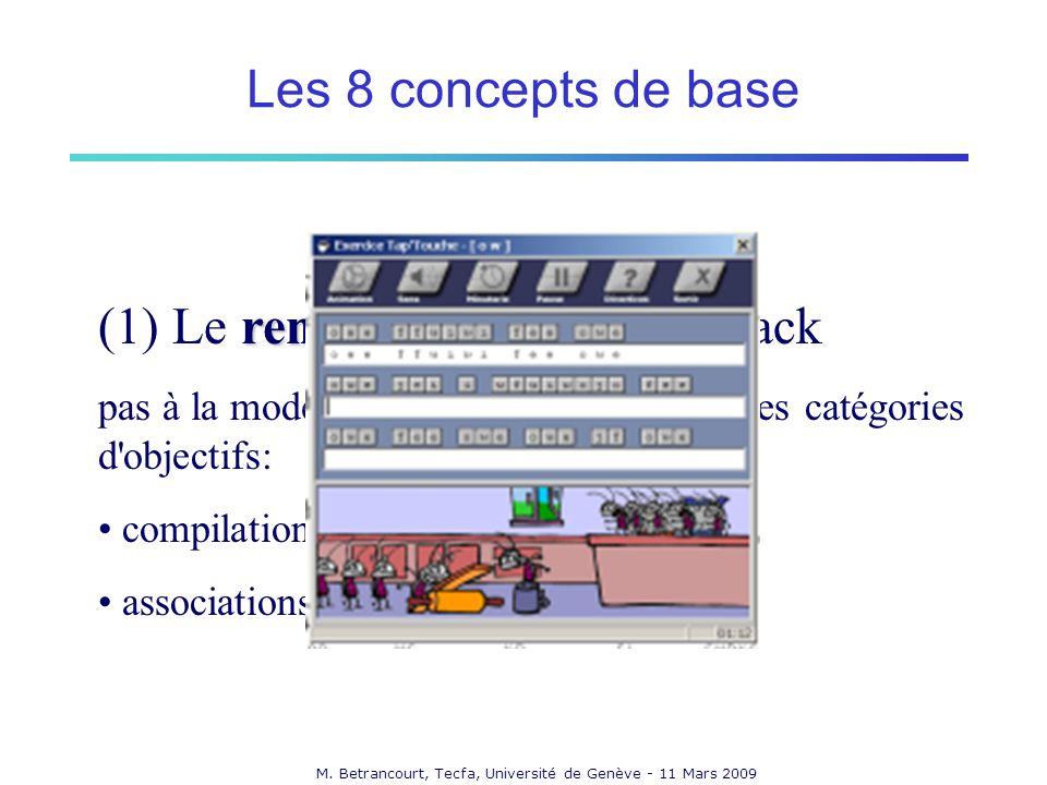M. Betrancourt, Tecfa, Université de Genève - 11 Mars 2009 renforcement (1) Le renforcement, le feed-back pas à la mode, mais efficace pour certaines