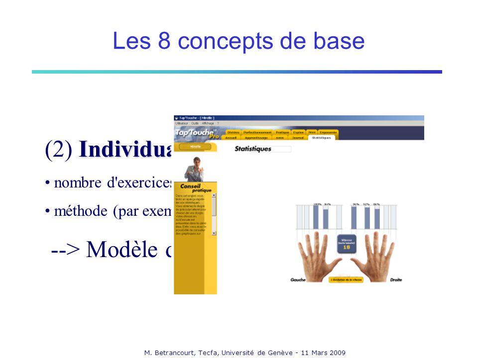 M. Betrancourt, Tecfa, Université de Genève - 11 Mars 2009 Individualisation (2) Individualisation nombre d'exercices, niveau de difficulté,... méthod