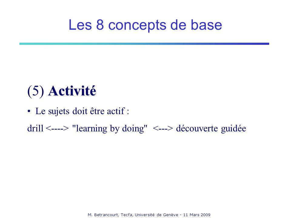 M. Betrancourt, Tecfa, Université de Genève - 11 Mars 2009 Activité (5) Activité Le sujets doit être actif : drill