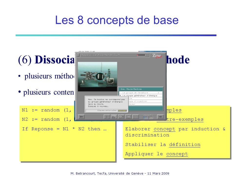M. Betrancourt, Tecfa, Université de Genève - 11 Mars 2009 Dissociation contenu / méthode (6) Dissociation contenu / méthode plusieurs méthodes pour u