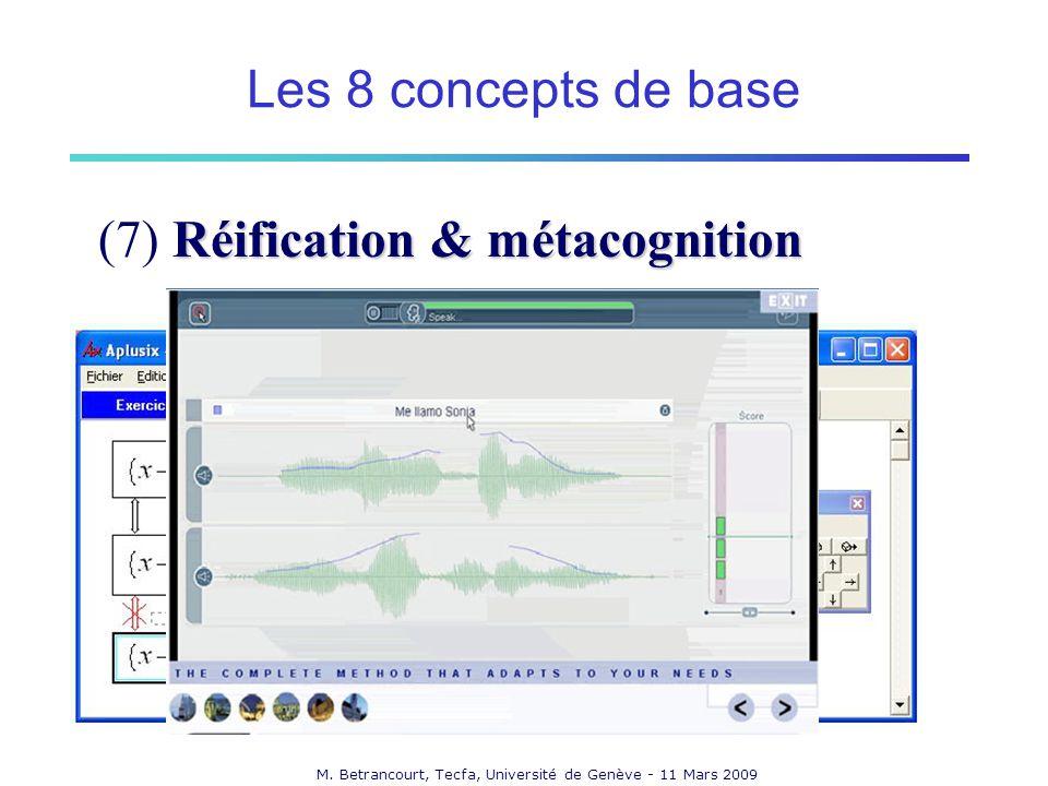 M. Betrancourt, Tecfa, Université de Genève - 11 Mars 2009 Réification & métacognition (7) Réification & métacognition Les 8 concepts de base