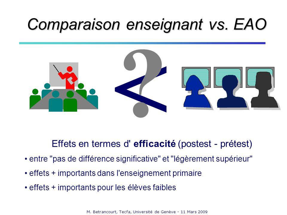 M. Betrancourt, Tecfa, Université de Genève - 11 Mars 2009 Effets en termes d' efficacité (postest - prétest) entre
