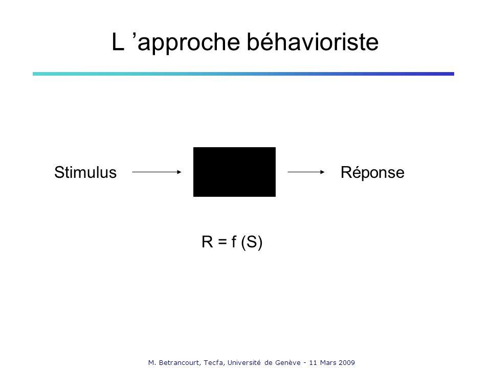 M. Betrancourt, Tecfa, Université de Genève - 11 Mars 2009 L approche béhavioriste StimulusRéponse R = f (S)