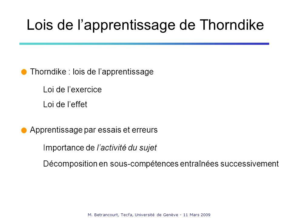 M. Betrancourt, Tecfa, Université de Genève - 11 Mars 2009 Lois de lapprentissage de Thorndike Thorndike : lois de lapprentissage Loi de lexercice Loi