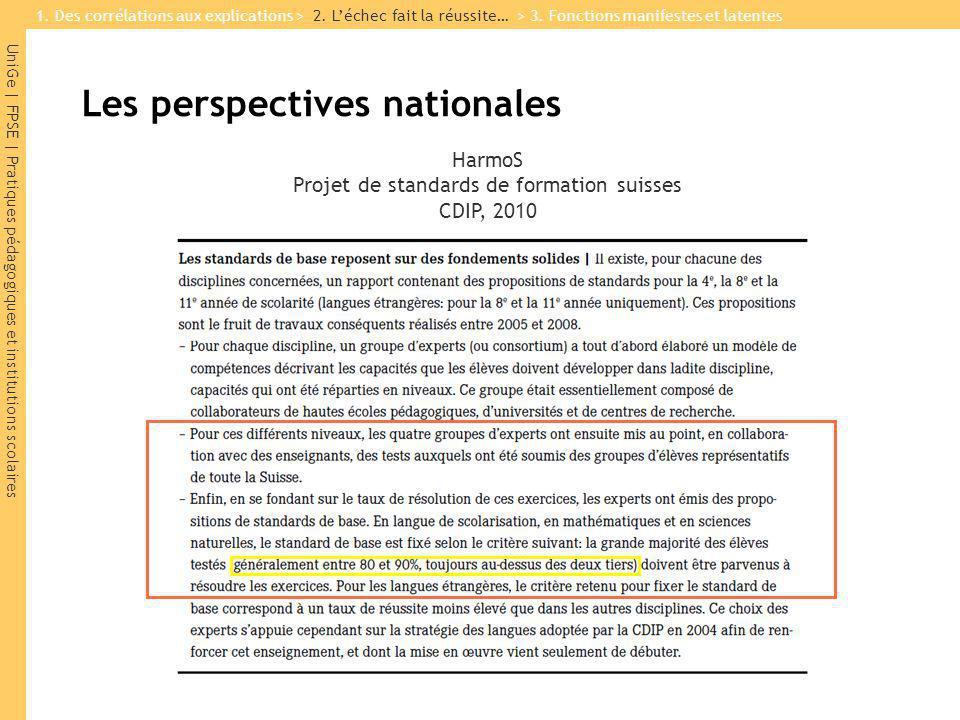 UniGe | FPSE | Pratiques pédagogiques et institutions scolaires HarmoS Projet de standards de formation suisses CDIP, 2010 1.