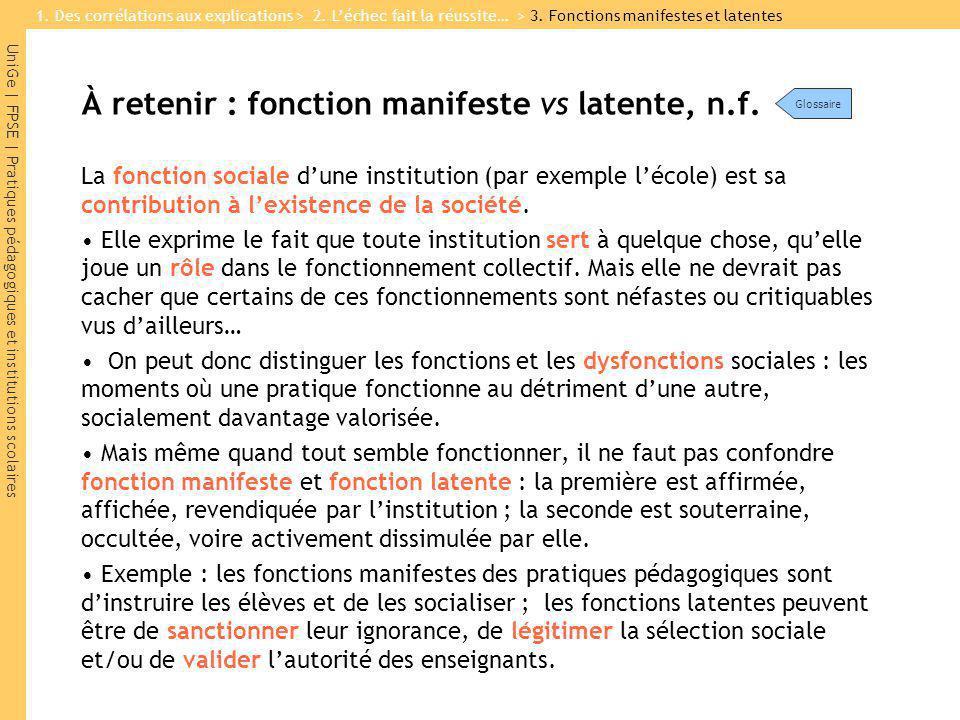 UniGe | FPSE | Pratiques pédagogiques et institutions scolaires À retenir : fonction manifeste vs latente, n.f.