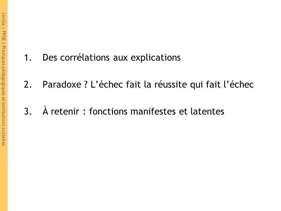 1.Des corrélations aux explications 2.Paradoxe .