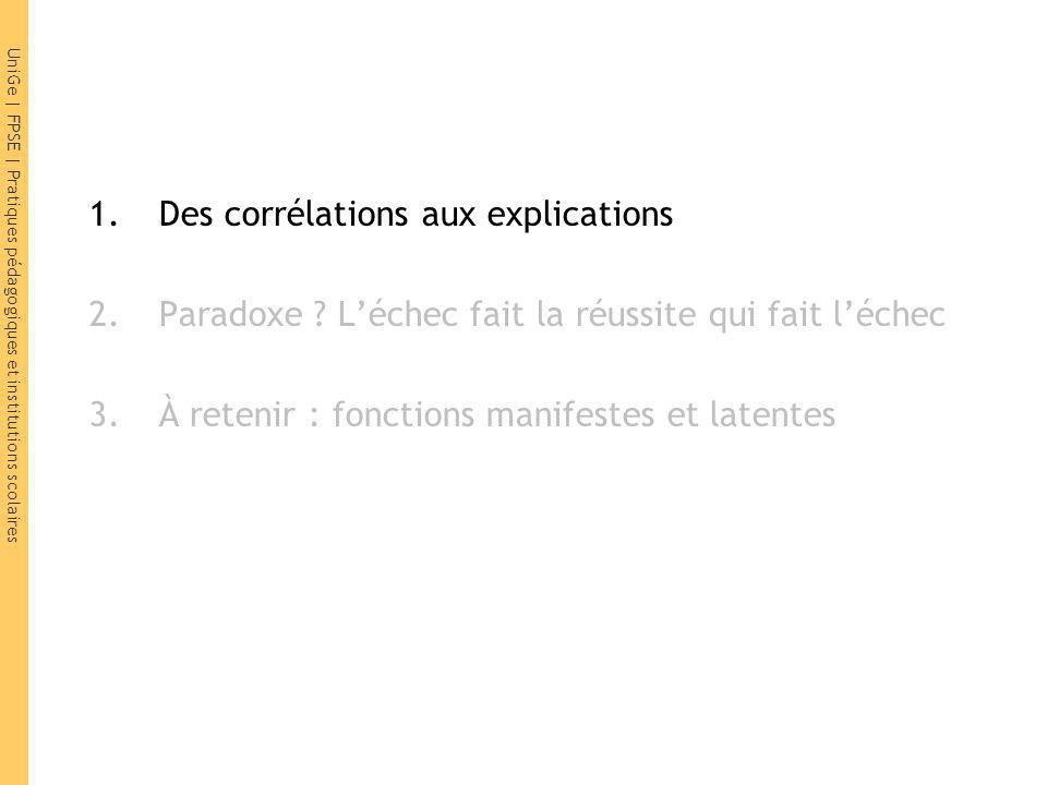 UniGe   FPSE   Pratiques pédagogiques et institutions scolaires 1.Des corrélations aux explications 2.Paradoxe .