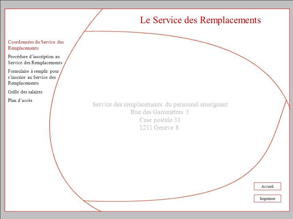 Coordonnées du Service des Remplacements Procédure dinscription au Service des Remplacements Formulaire à remplir pour sinscrire au Service des Rempla