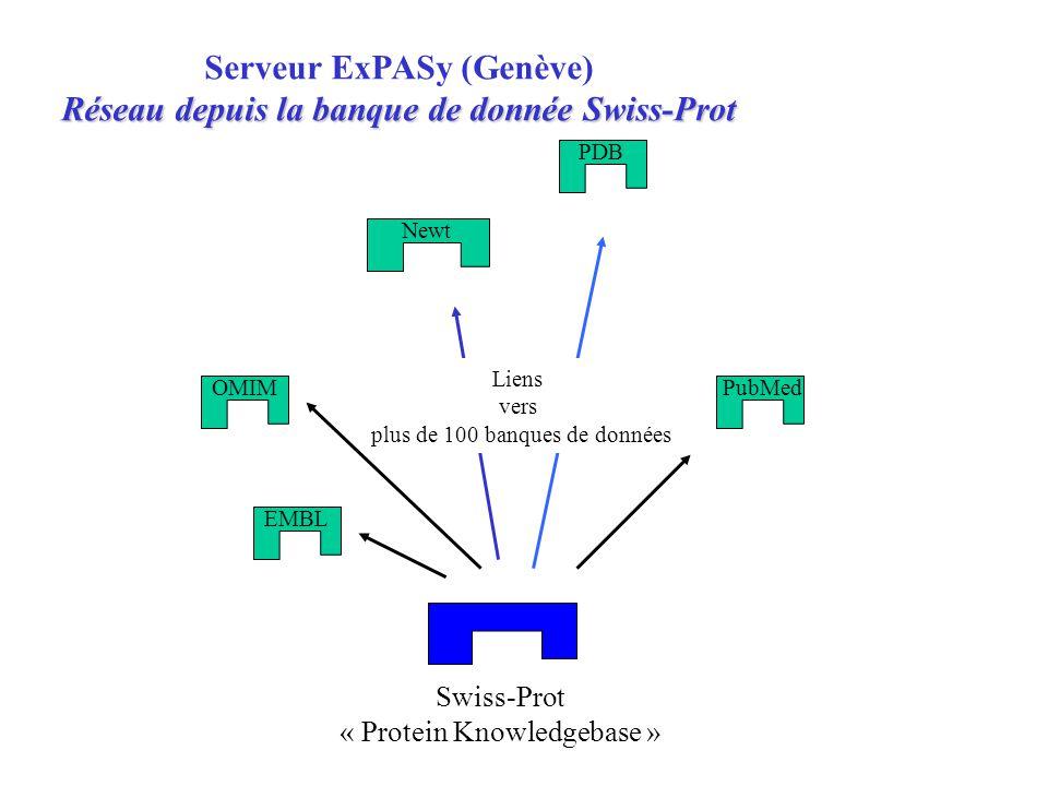 Swiss-Prot « Protein Knowledgebase » OMIM Newt PDB Serveur ExPASy (Genève) Réseau depuis la banque de donnée Swiss-Prot PubMed EMBL Liens vers plus de