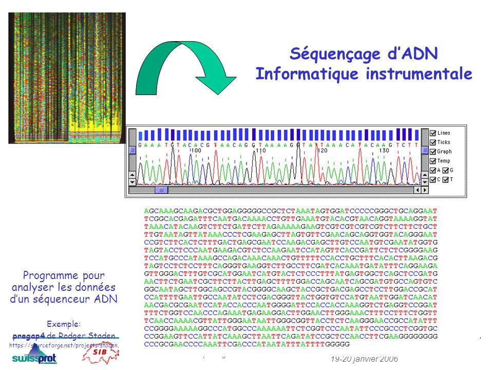 MCB 19-20 janvier 2006 Exploragénome Séquençage dADN Informatique instrumentale Programme pour analyser les données dun séquenceur ADN Exemple: pregap