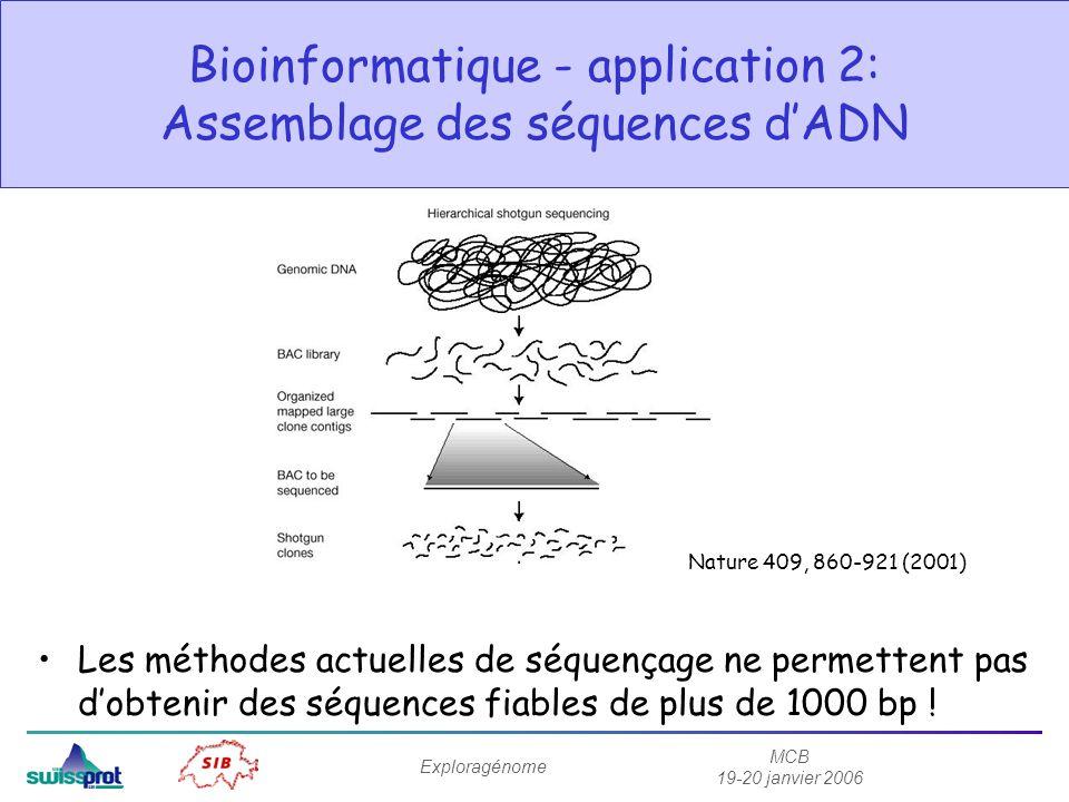 MCB 19-20 janvier 2006 Exploragénome Bioinformatique - application 2: Assemblage des séquences dADN Les méthodes actuelles de séquençage ne permettent