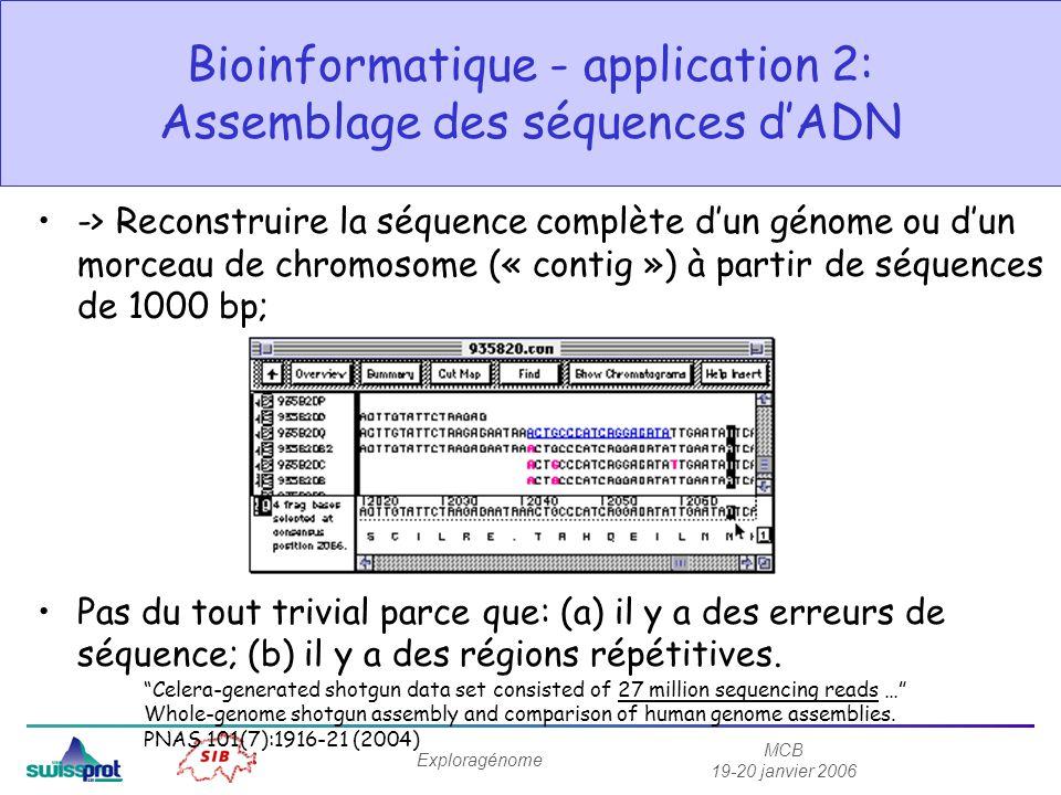 MCB 19-20 janvier 2006 Exploragénome Bioinformatique - application 2: Assemblage des séquences dADN -> Reconstruire la séquence complète dun génome ou